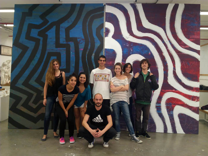 Foto del equipo de Pintura Mural UFV curso 2013-14